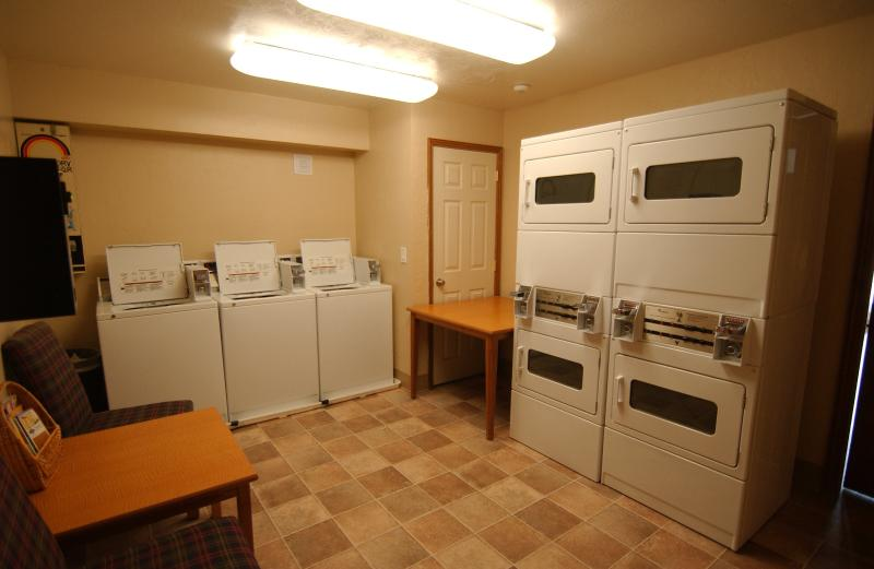 Laundry facility is adjacent to Copper Lounge and the front desk.
