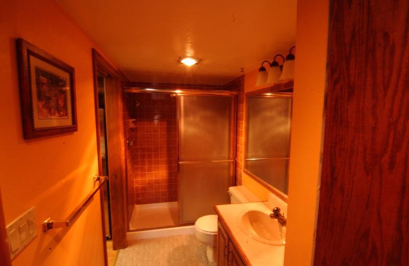 Volledige badkamer (#2) met douche, toilet en wastafel/ijdelheid. Toegankelijk via slaapkamer #2
