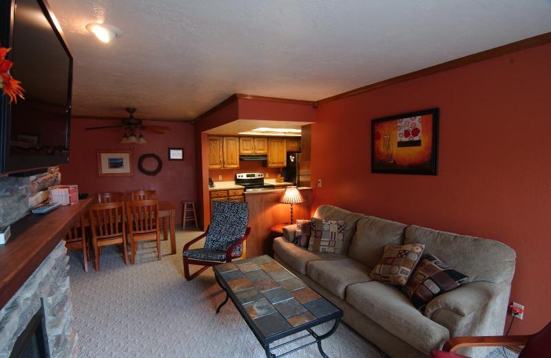 Family room w/sleeper sofa & large flat screen TV