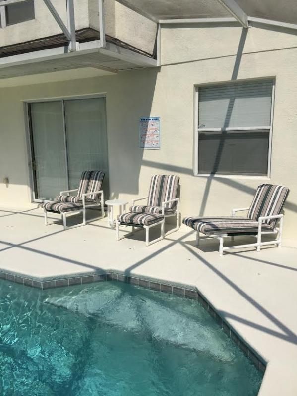 Our sparkling pool which has plenty pool furniture for all guests