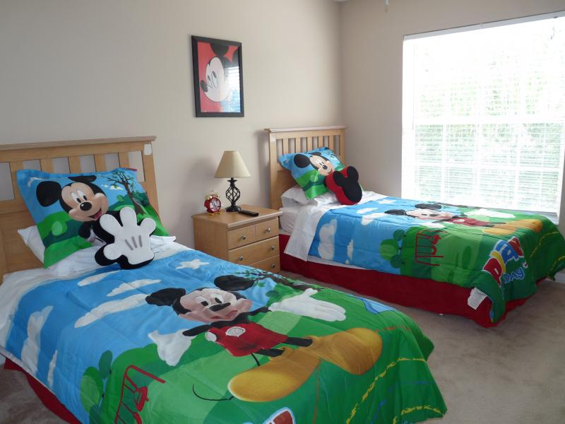 Mickey Mouse twin room which is equipped with 32'flat screen TV,ceiling fan