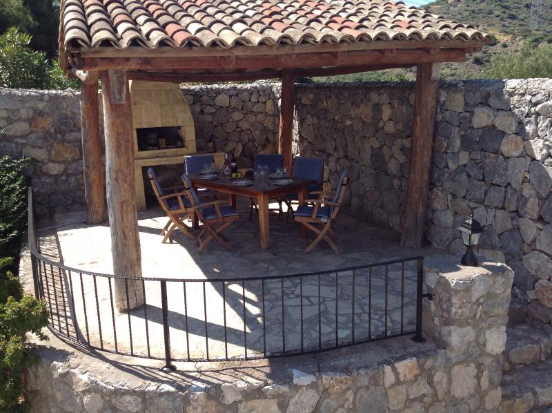 BBQ area with lighting and power sockets for music