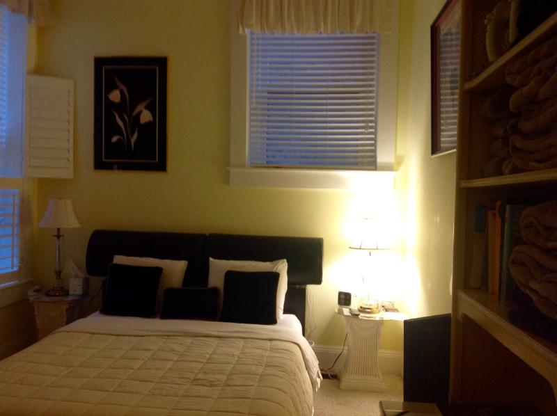 Queen size bed with memory foam mattress and pillows