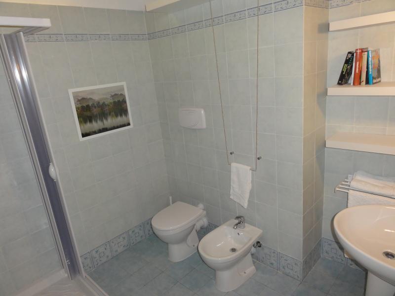 ampio bagno con cabina doccia