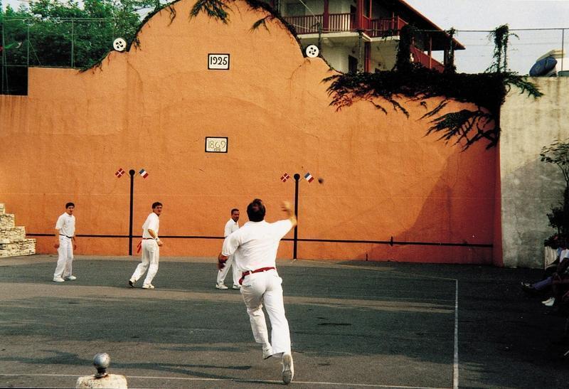 Basque pelote game in a village