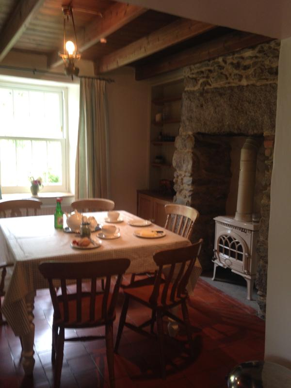 Dining area and woodburner