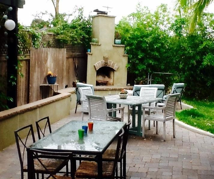Outdoor Living and Dining Area; Fireplace