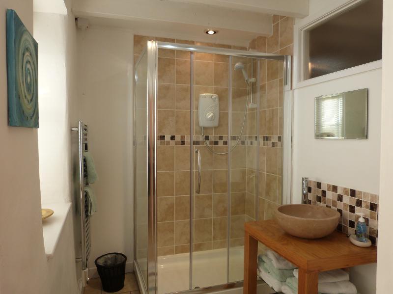 Ensuite includes a double size shower, wash bowl & heated towel rail