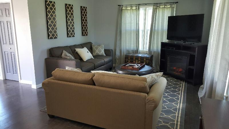 Living room with 50' flatscreen smart TV and electric fireplace