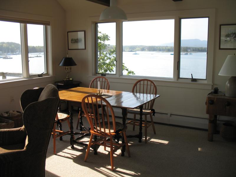 Upstairs dining area with beautiful views of the mountains and village of Bernard across the harbor.