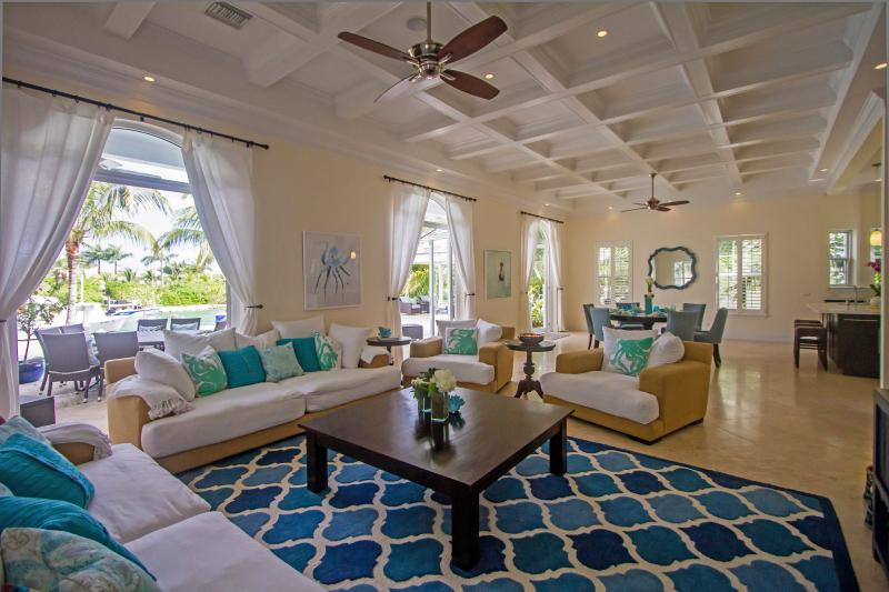 The expansive and comfortable, open living and dining areas
