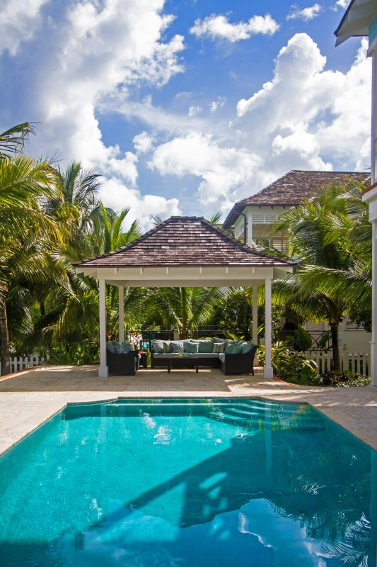 Our private pool, complete with pool and canal-side gazebo. Perfect for lounging the days away in.