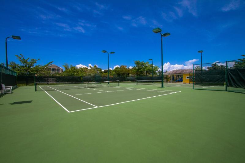 Two immaculate tennis courts at the end of our lane.