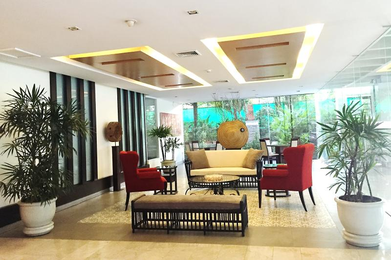 Stylish lobby at the building decorated by an international artist