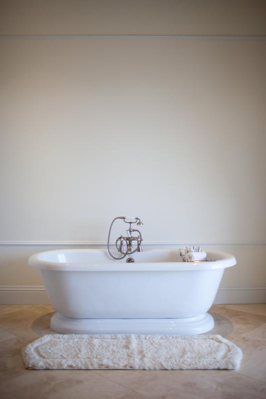The deeply relaxing, roll-top tub in the master bathroom