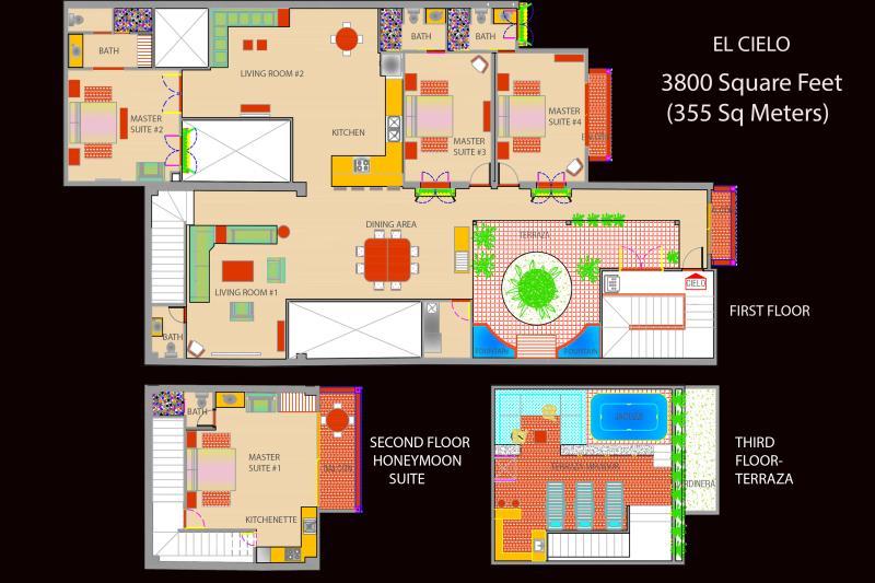 3800 sq. Foot Penthouse Floor Plan. Occupies Top 3 Floors at Casa Del Reloj. Best Value in Medellin!