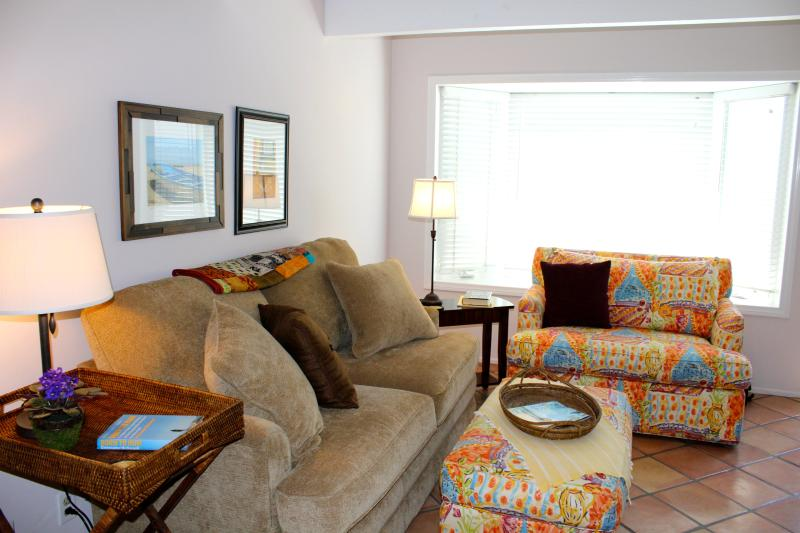 Comfortable, welcoming living room includes a full and single sleeper sofa, and HD TV
