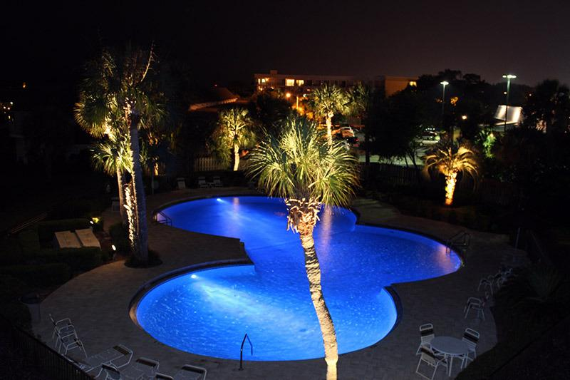 The pool at night, view from balcony