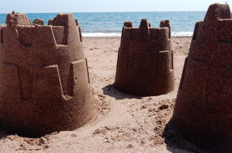 Sandcastles on Teignmouth Beach