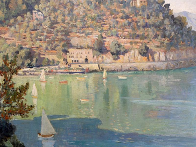 Paraggi bay, Oil on canvas, Emilio Bocciardo 1936