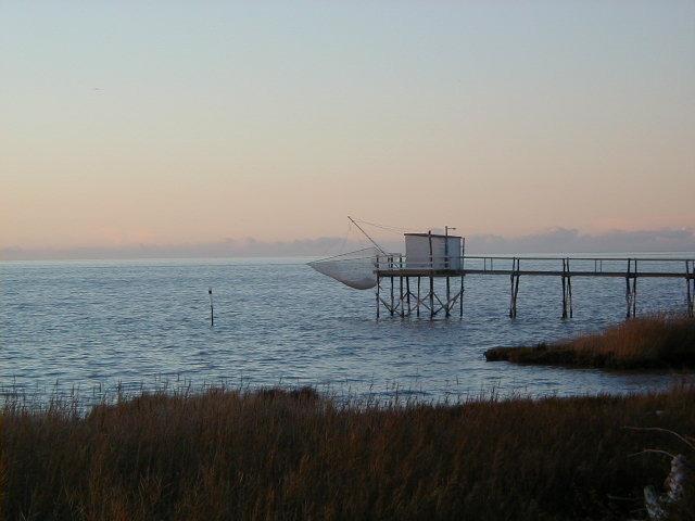 Shrimp fishing 'Carrelet' after sunset on the Gironde Estuary