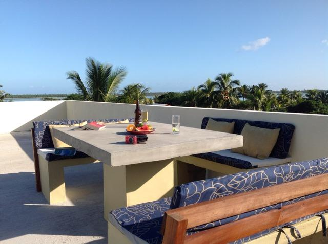 contemporary dining & lounge BBQ area with stunning views on our shared roof terrace