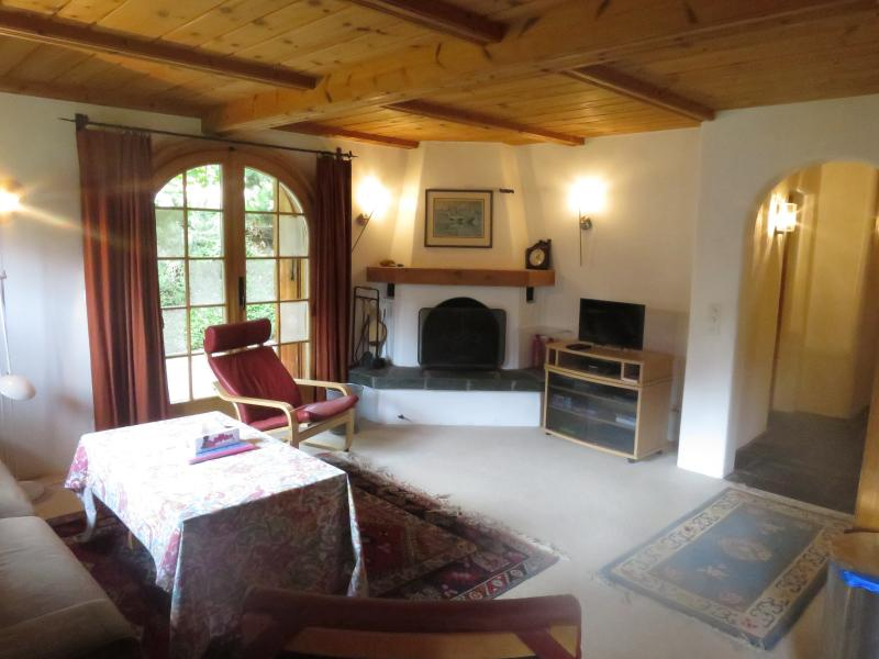 The living area with fireplace