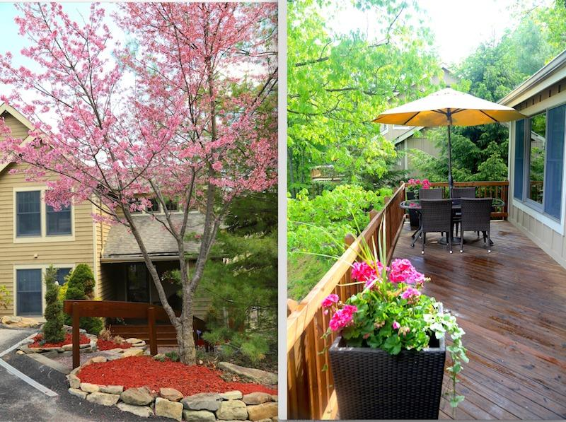 Skiview Entrance + upper deck w/outdoor dining + BBQ. There is a huge lower deck w/ sun loungers etc