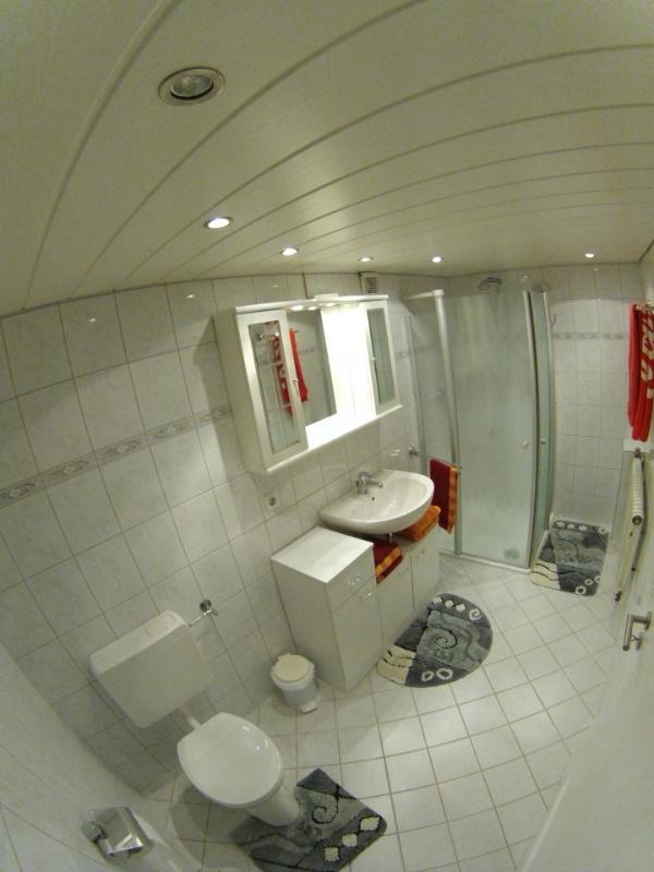 Cuarto de baño con ducha y WC