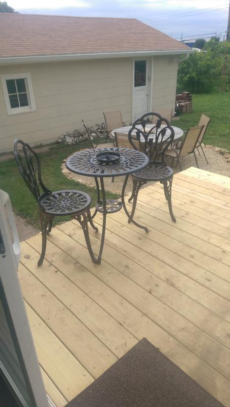 2 person bistro table on back deck