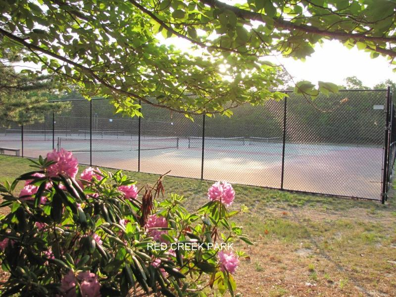 Free 6 tennis courts at Red Creek park  2 min by car or 15 walk.