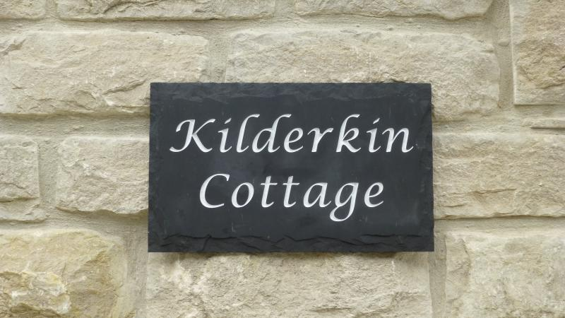 Purbeck stone and Welsh slate name plate! A kilderkin = 1/2 beer barrel & reflects the local history