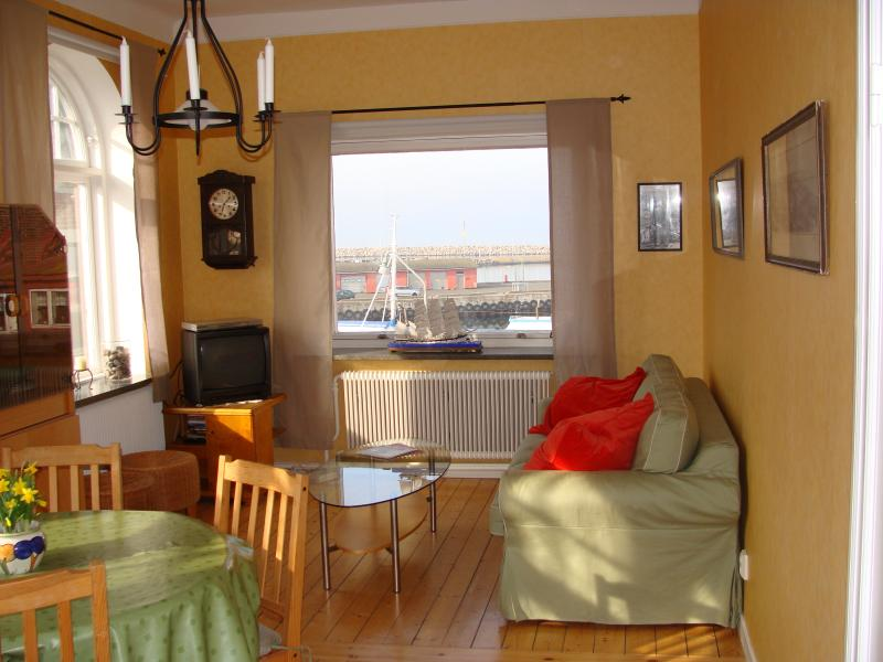 Livingroom with sofabed, AND view to the old harbour and the Baltic Sea !