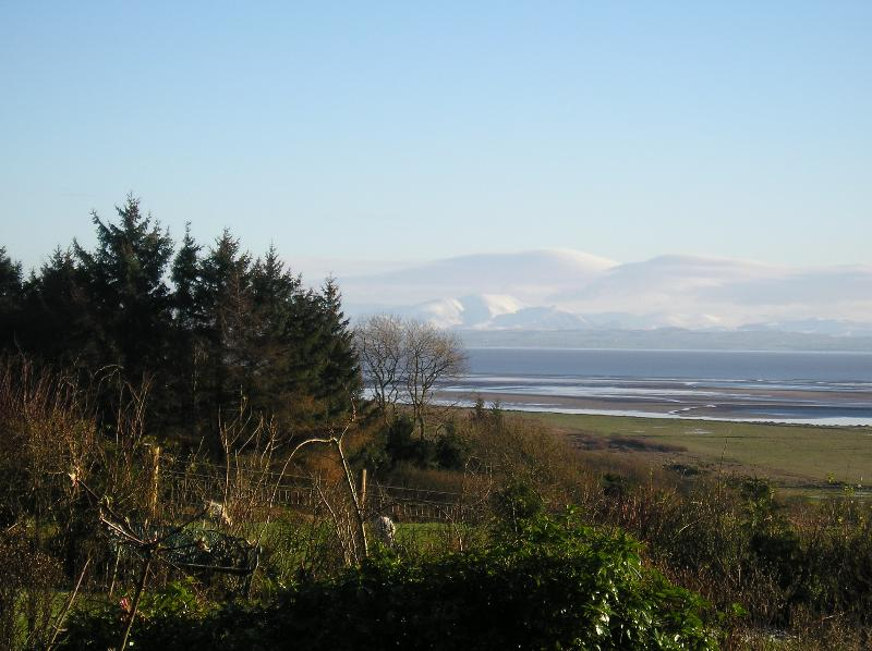 Winter view across the Solway to the Fells of the Lake District.