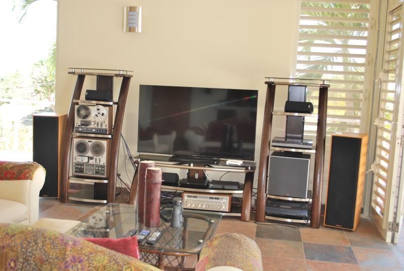 Panasonic 60'  with Onkyo surround sound and Polk audio speakers, & subwoofer