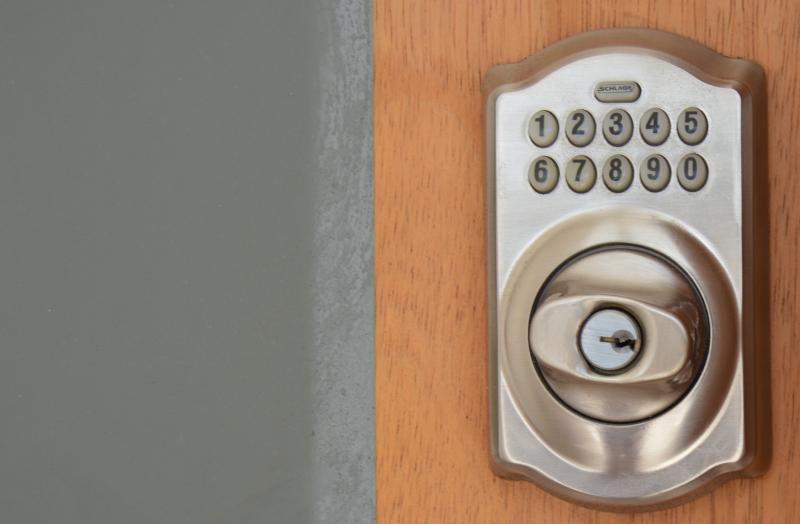 combination locks on all doors - no need for keys.