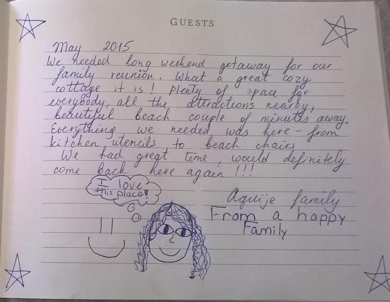 This is a review written in our guest book by a recent group.