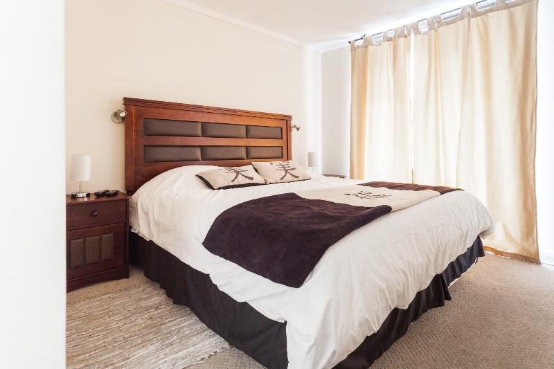 Master bedroom with balcony, bathroom, closet woking.  Double Bed