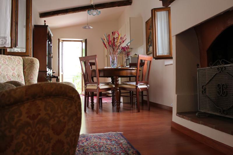 Goditi il relax e la pace nel soggiorno davanti l'antico camino