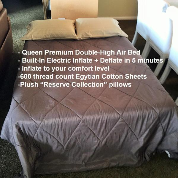 Queen Premium Double-High Air Bed. Built-In Electric Inflate+Deflate in 5 minutes.