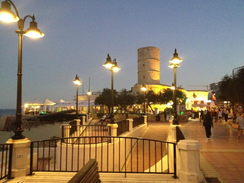 Sliema's fashionable seafront promenade that begins at St. Julian's Bay.