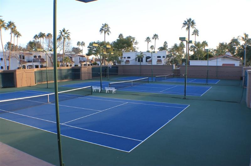 Lighted championship tennis courts