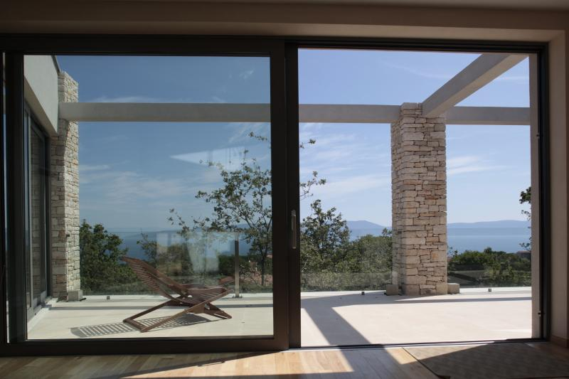 view from upstairs terrace looking out onto Cres and Losinj islands