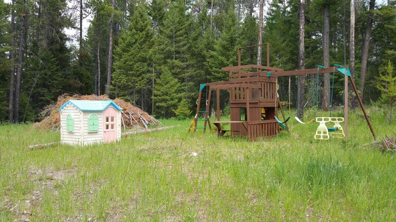 Play house and swing set for the kids