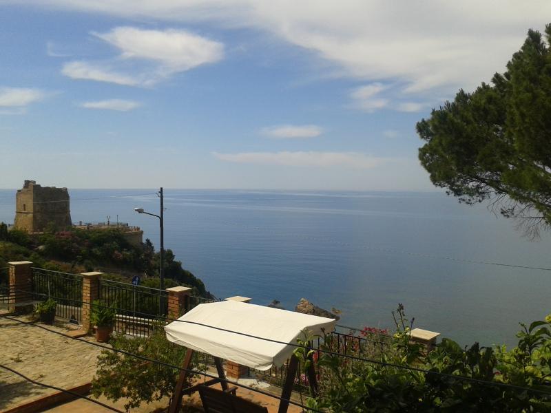Swing view from garden facing sea