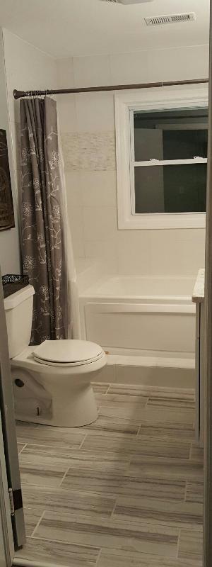 beautiful tile work in bathroom