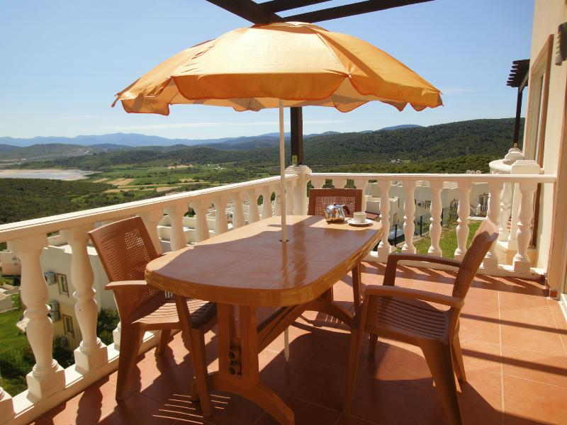 One of the balconies of the apartment near Bodrum, Turkey.