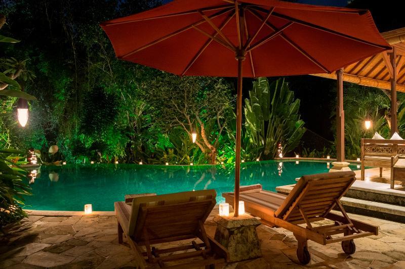Frangipani Pool at night from main house