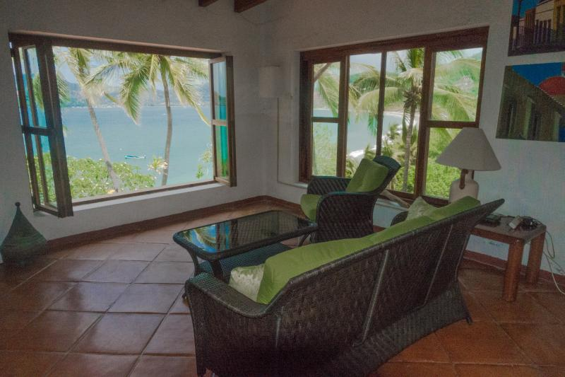 Upper House Living Room - view of Zihuatanejo Bay. My absolute favorite place!