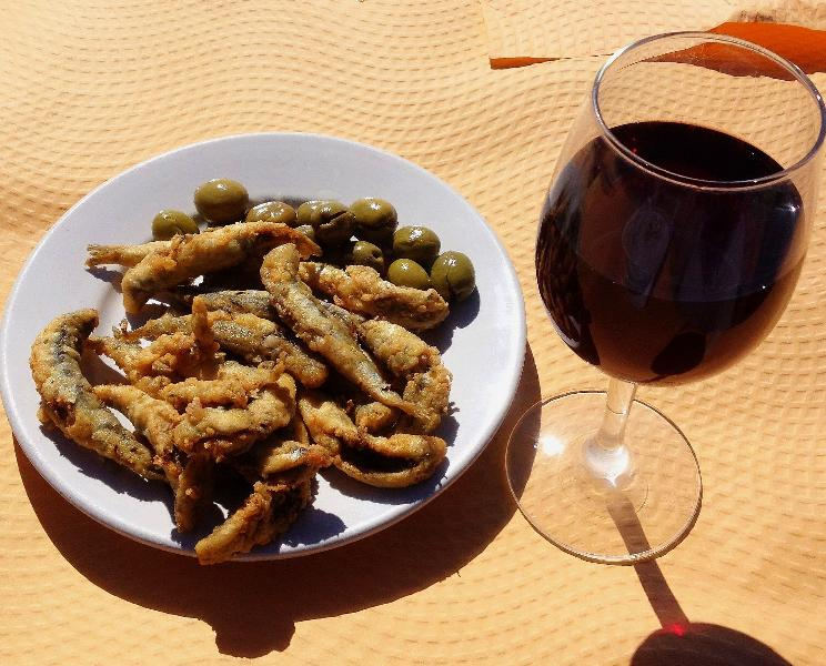 Fish Tapas and a glass of Rioja
